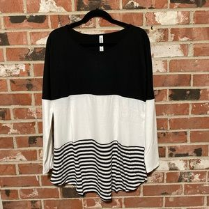 Black and white long-sleeve top color block